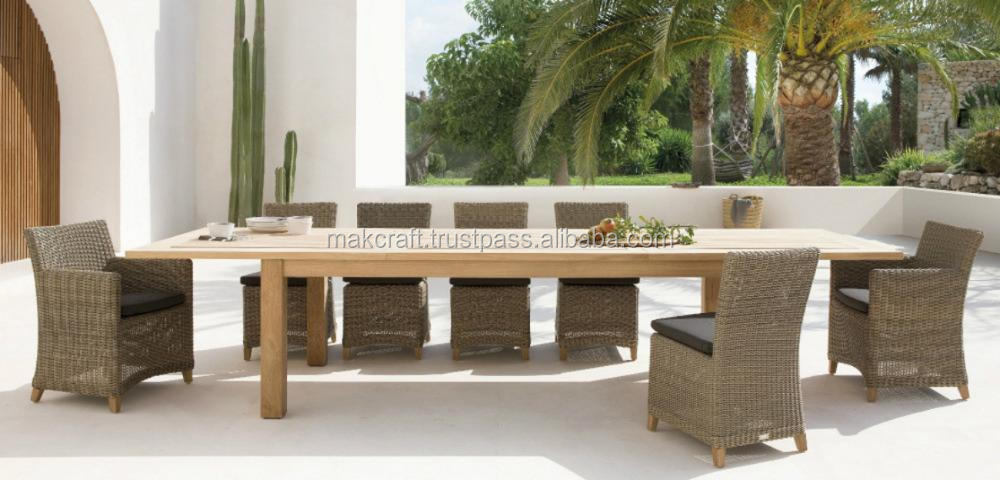 Wicker rattan outdoor wooden dining table set 8 chairs- garden patio outdoor furniture dining table set