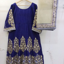 Blue Bikaw Fashion Heavy Zari embroidery work with semi stich Gown