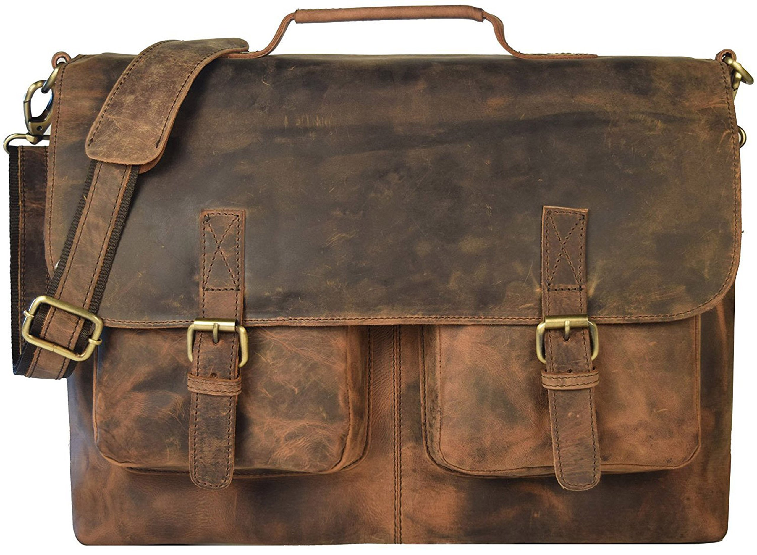 9f14c6efa78 Get Quotations · KK's 16 Inch Retro Buffalo Hunter Leather Laptop Messenger  Bag Office Briefcase College Bag