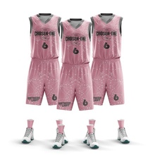 8 jahre Fabrik Digitale Sublimation College Neueste Set <span class=keywords><strong>Basketball</strong></span> Jersey Uniform Design Farbe <span class=keywords><strong>Rosa</strong></span>