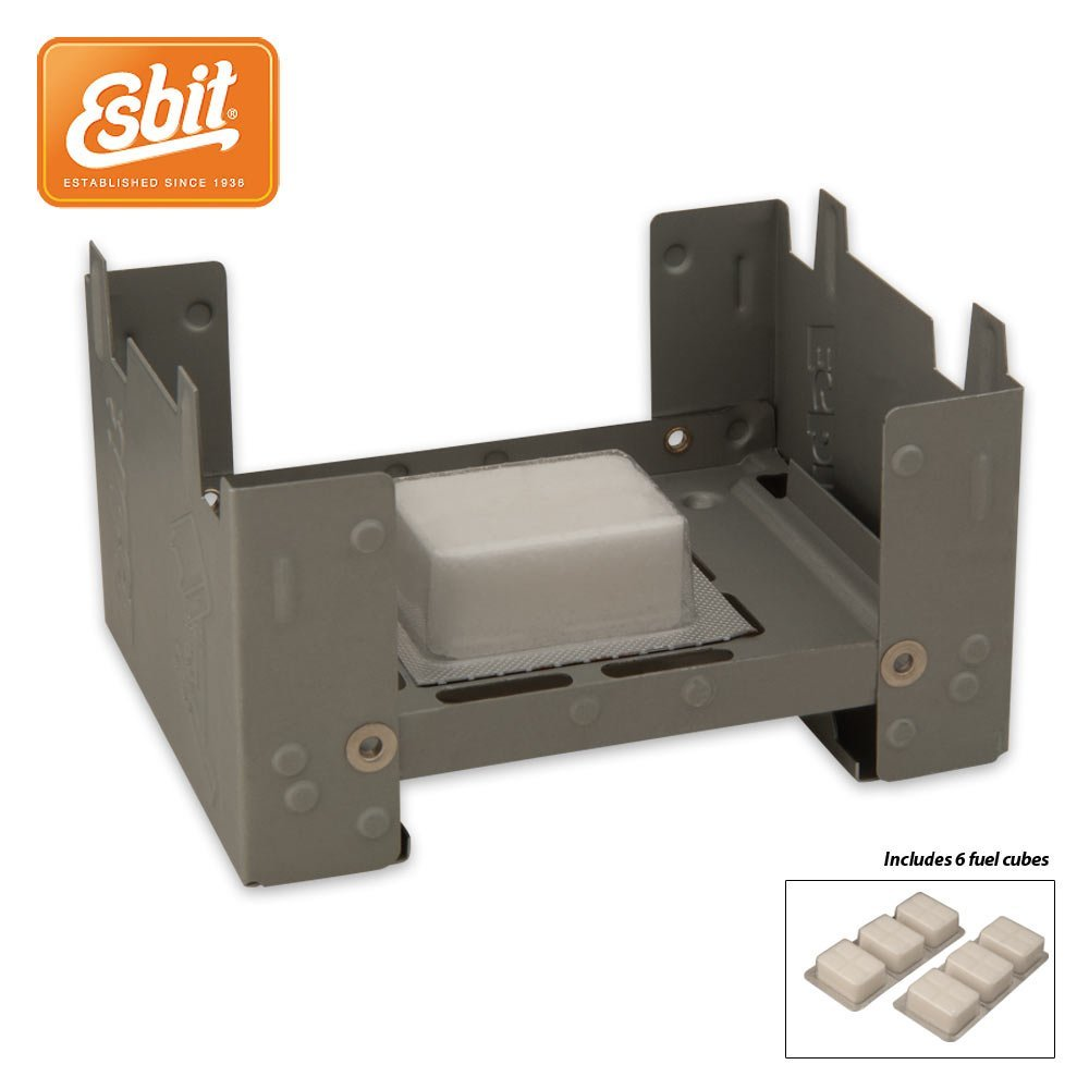 Esbit Pocket Camping - Emergency - Survival Stoves: Set Of Two (2) Stoves with 12 Solid Fuel Cubes (Six Per Stove)