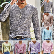 Factory Outlet Fashion Men's Slim Fit V Neck Long Sleeve Muscle Tee T-Shirt Casual