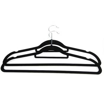 Wholesale Custom Logo Space Saving Anti Slip Suit Coat Clothes Hangers Black Velvet Hanger