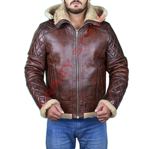 Men Bomber Jacket Genuine Lamb Leather And Faux Fur Jacket