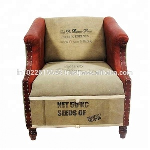 Industrial Canvas & leather Recliner Sofa Chair