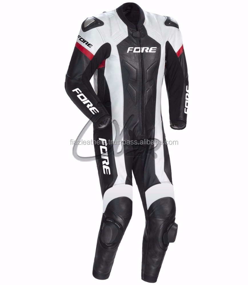 Black Racing Rider Leather Suit Men Motorbike Motorcycle CE Armour All Size