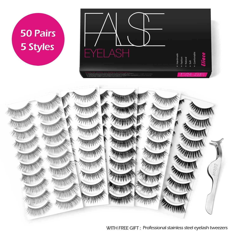 Buy Eliace 50 Pairs 5 Styles Lashes Handmade False Eyelashes Set
