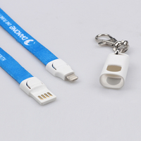 Logo custom usb cable lanyard for iPhone charger lanyard charging cable 2 in 1 connector work for micro port