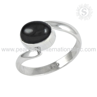 Dainty Black Onyx Gemstone 925 Sterling Silver Handmade Ring Jewellery Wholesale Indian Silver Jewellery