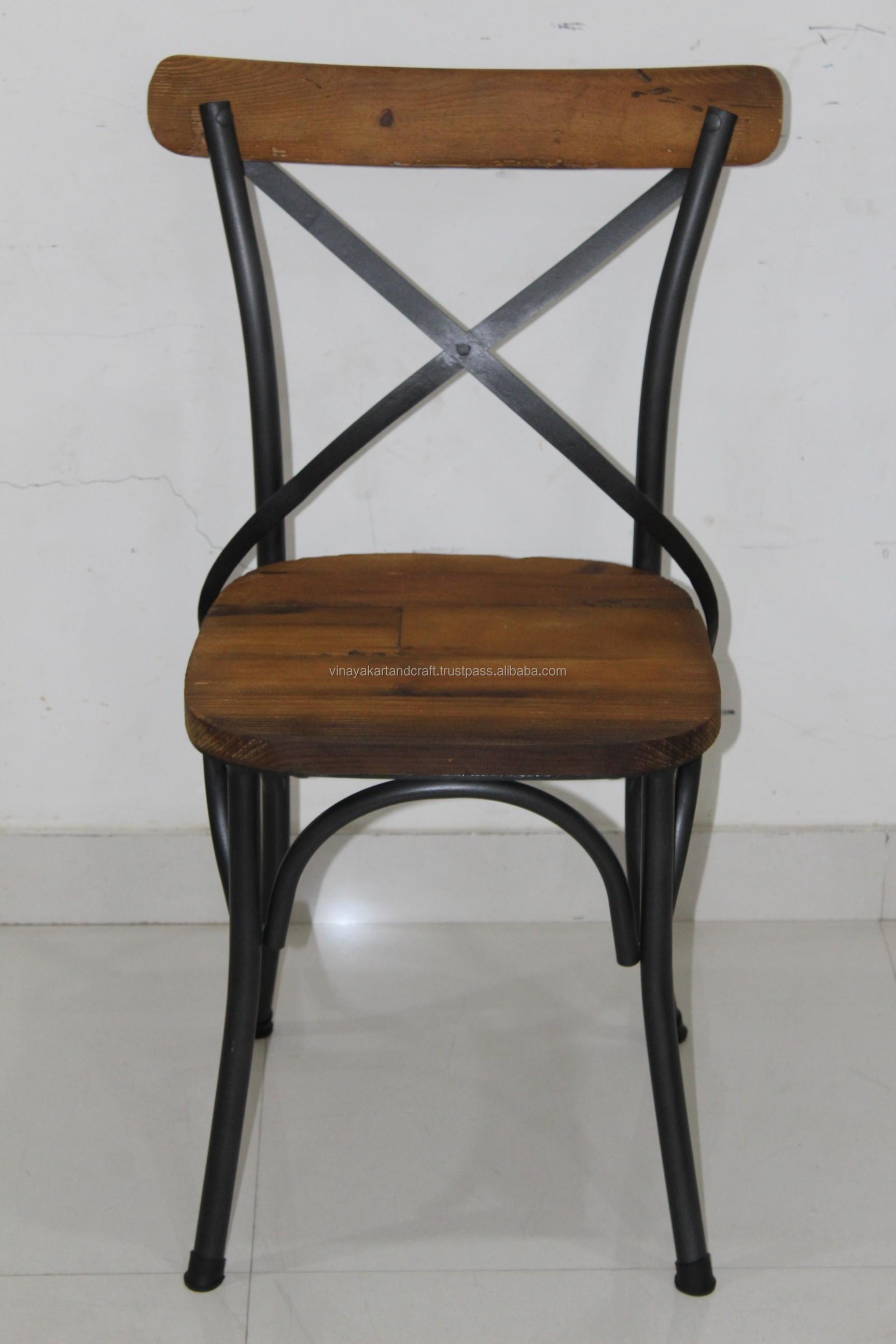 Chaise Bois Et Metal Industriel vintage industriel x chaise arrière style français antique pin bois x  chaise arrière restaurant café salle À manger en bois fer x chaise arrière  - buy