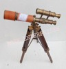 Antique Nautical Marine Red Leather Seated Brass Double Barrel Tripod Telescope