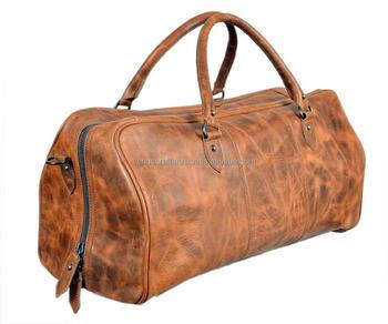 37026123032729 Full Grain Genuine Leather Duffel Travel Overnight Weekend Leather Bag  Sports Gym Duffel For Men