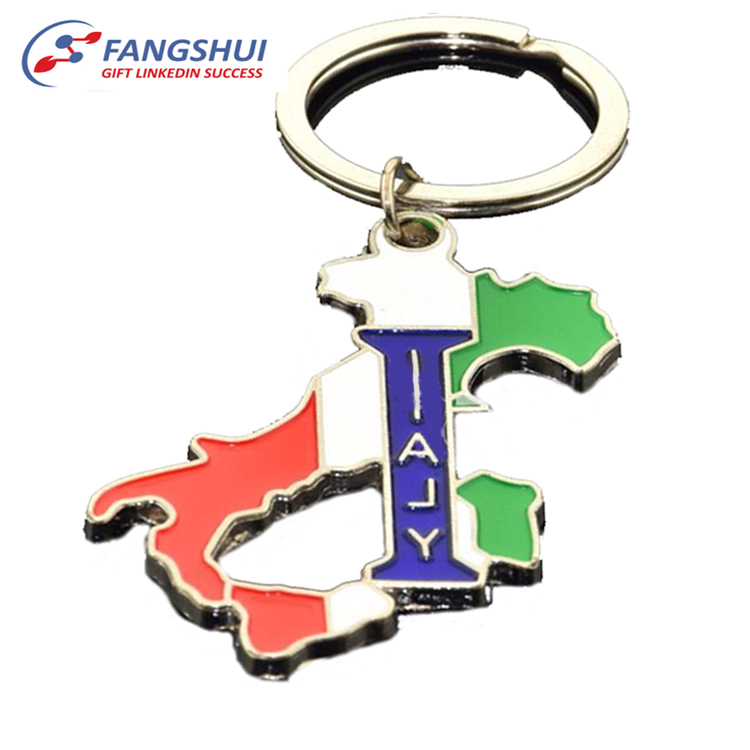 Promotion gift cheap custom zinc alloy metal gold plating soft enamel country shaped travel souvenir italy keychain