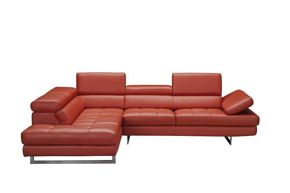 Soflex Aislinn-Lu Italian Dark Orange Genuine Leather Sectional Sofa Contemporary (Left)