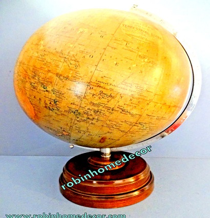 "Handcrafted Nautical Beautiful Table Decor World Globe 8"" on Metal Base Stand Christmas Gift"