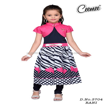 Different Pattern Collar Neck Girls Kurti With Jacket Buy New