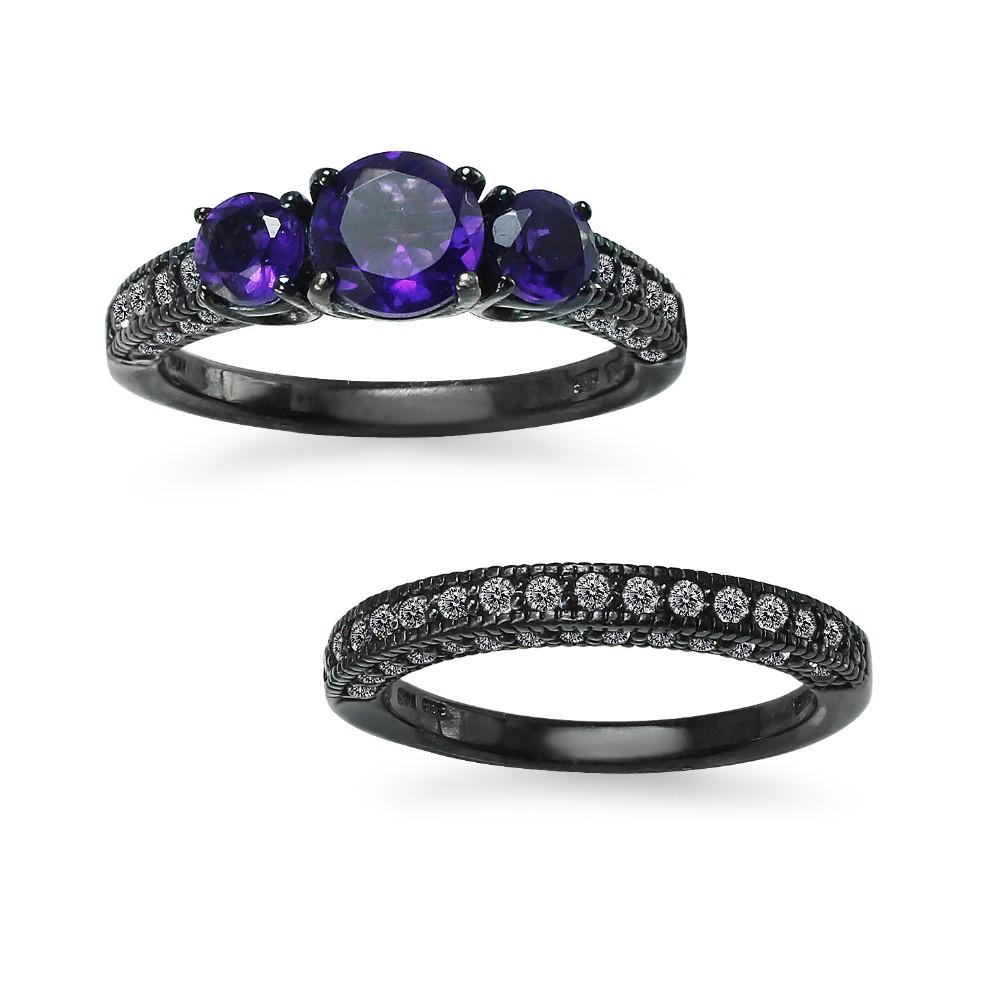 Amethyst With White Topaz Gemstone 925 Sterling Silver Half Eternity Band Ring