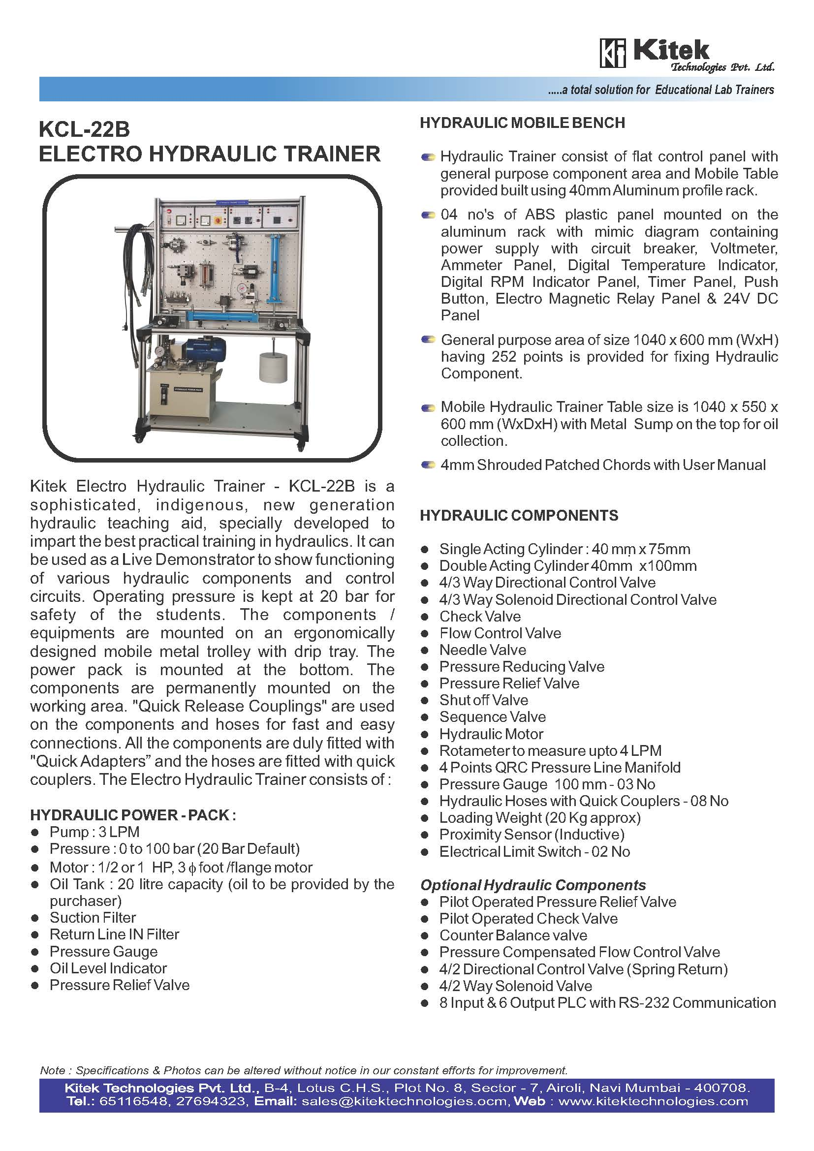 High Quality HYDRAULIC TRAINER  Mechatronics Lab Vocational Training Equipment