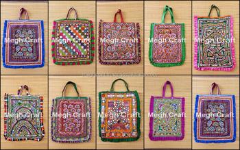40ce332a36c4 Vintage Banjara Gujarat Tribal Kutch Rabari Gypsy Work Hand Embroidery Bead  And Mirror bag Theli Tote