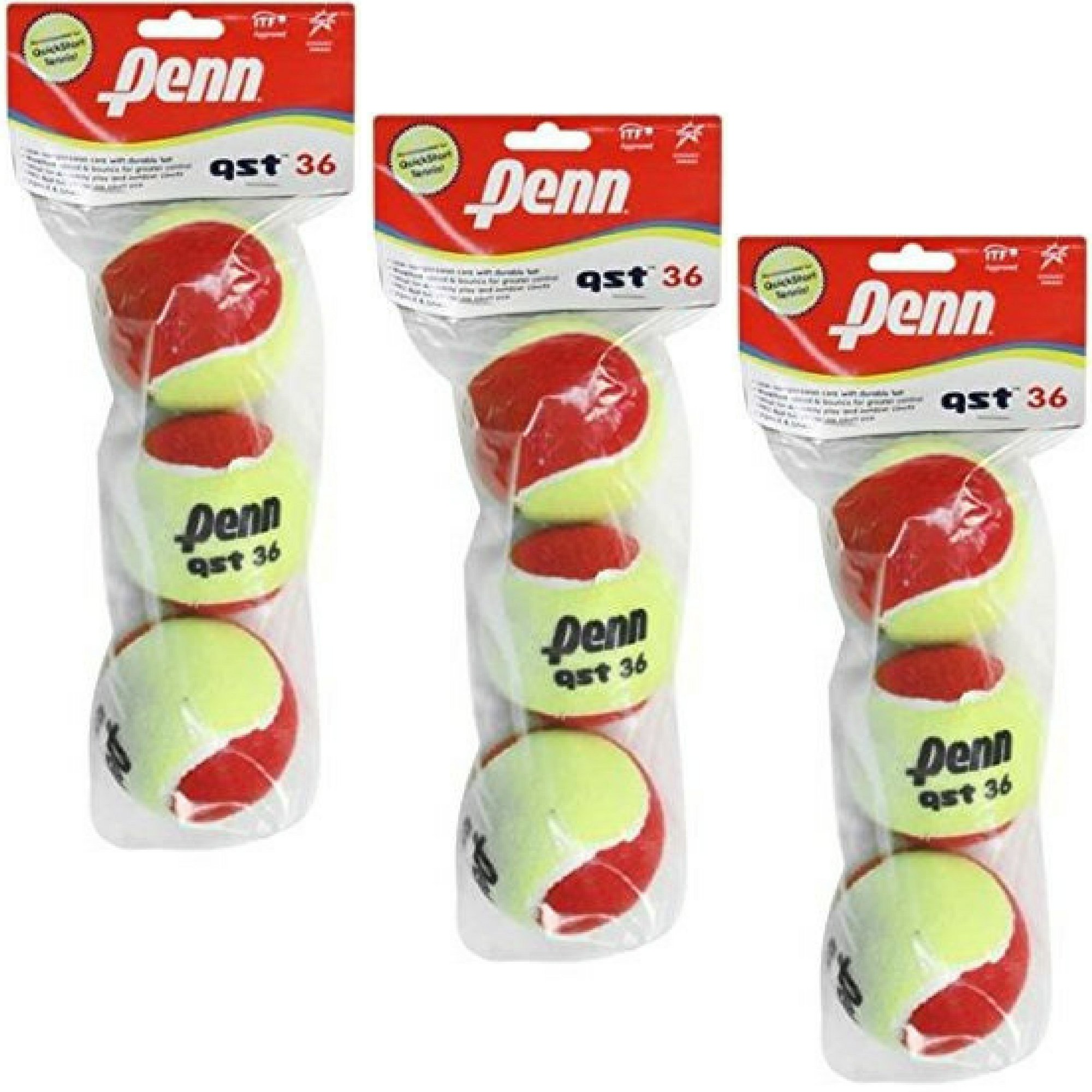 Penn QST 36 Boys/Girls Youth Beginner Tennis Balls (3-Pack: 9 Balls Total)