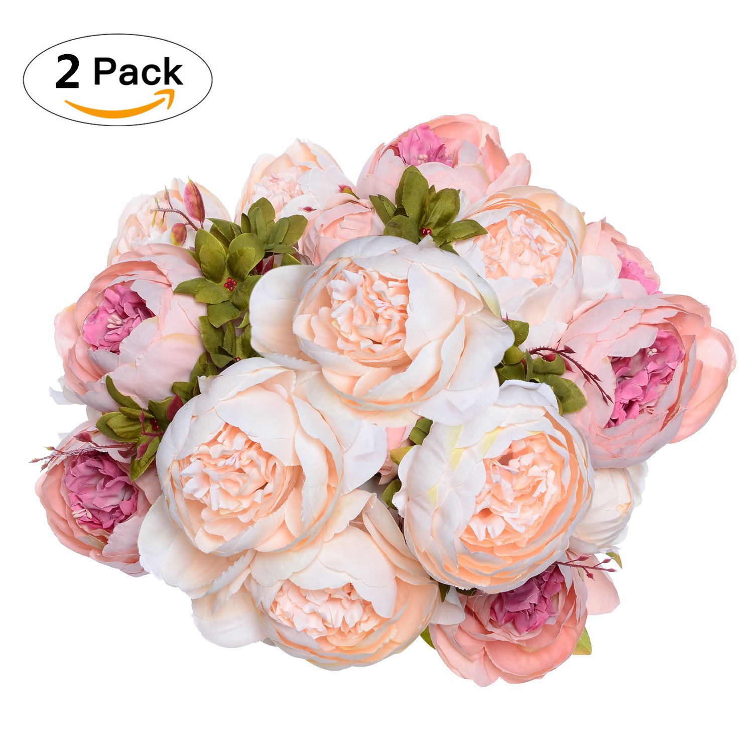 Cheap peony silk flower bouquet find peony silk flower bouquet get quotations 2 pack artificial peony wedding flower bush bouquet artiflr vintage peony silk flowers for home mightylinksfo