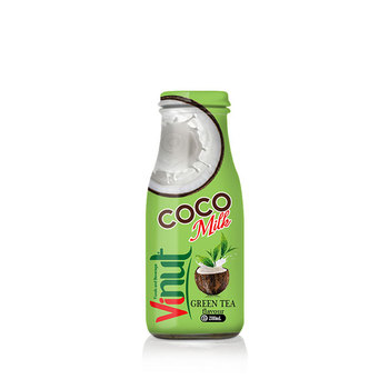 280ml Glass Bottle wholesale coconut water milk with Green tea flavour
