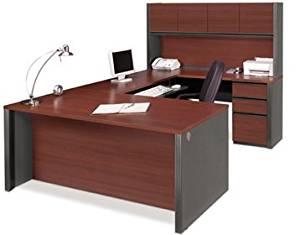 "Bestar U Shaped Desk W/Hutch Executive Computer Desk 71.3""L X 29.9""W X 29.7""H, Hutch 71""L X 12.5""W X 35.8""H, Credenza 71.3""L X 19.9""W X 29.7""H, Bridge 46.6""L X 23.3""W X 29.7""H - Bordeaux & Graphite"