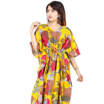 Indian fashionable women floral dress new long kaftan boho pure cotton  casual wear maxi 0811dd901