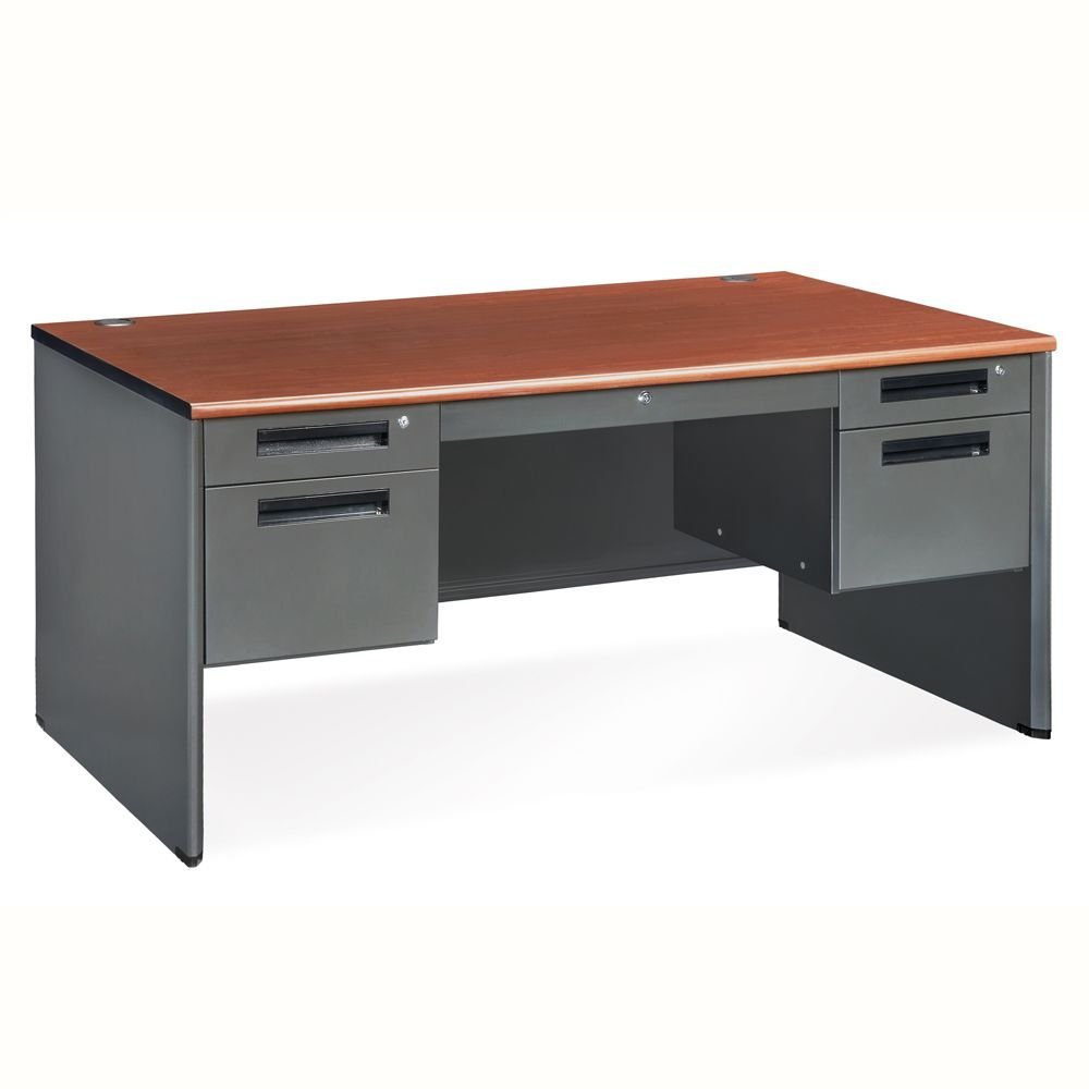 "Compact Panel Desk with Pedestal - 57""W x 29.5""D Dimensions: 57.25""W x 29.50""D x 29.25""H Weight: 217 lbs Cherry Laminate Top/Steel Base"