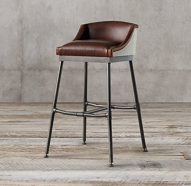 Scaffold Leather Bar Stool