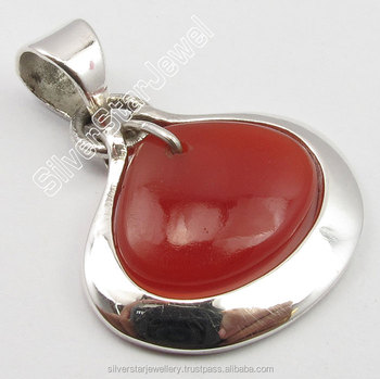 "Best Sellers Gemstones High Quality Jewelry Import .925 STERLING Silver RED FIRE CARNELIAN HEART Stone CHARMING Pendant 1.1"" NEW"