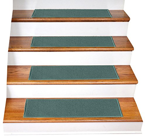 """Gloria Rug Skid-Resistant Indoor/Outdoor Rubber Backing Gripper Non-Slip Carpet Stair Treads-Machine Washable Stair Mat Area Rug (SET OF 7), 8.5"""" x 26"""", Teal"""