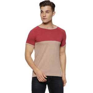 Fashion 100% cotton cheap custom splicing round neck men t-shirt