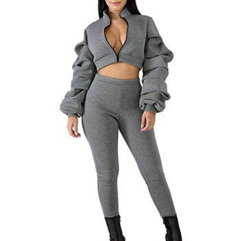 Women Ruffle Puff Sleeve Crop Jacket High Waisted Pants 2 Piece Outfit Track Suit Latest Design Fashion Customized Unique Style