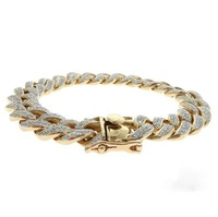 Pave Diamond Cuban Link Bracelet 14k Yellow Gold