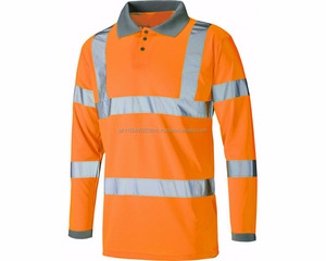 Long sleeves hi viz polo shirts / best quality workwear shirt