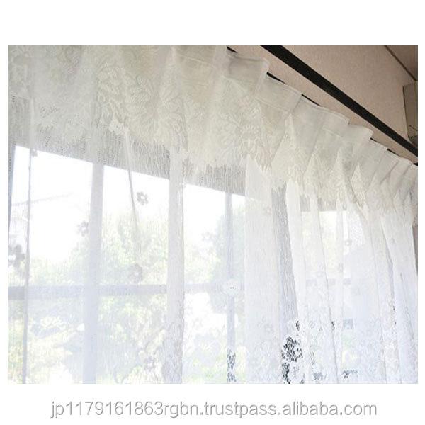 wasbaar en modieuze witte kant gordijn met gordijnen haken gemaakt in japan