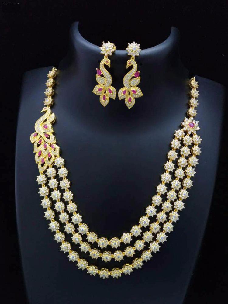 a5eb0b97059 Cz Necklace Artificial American Diamond Jewellery Zircon Jewellery Set -  Buy Peacock Necklace