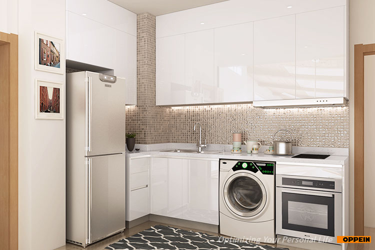 OPPEIN high quality modular lacquer kitchenette for small apartment white kitchen cabinets