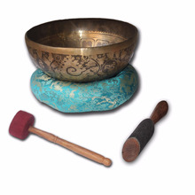 11 Inch Hand Beaten Tibetan Singing Bowl-Buddha Image Inside- Chakra Healing Singing Bowl- Handmade Singingbowl