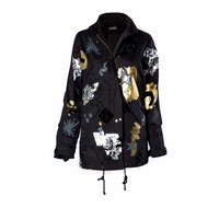 Fashionable Black Jacket with Foil Print - 1st Quality Jacket Wholesale Turkey - 1365