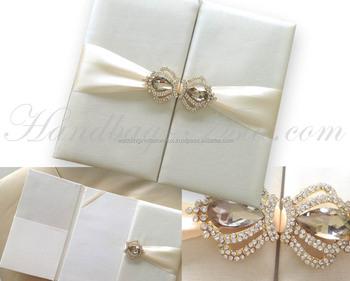 Crown Brooch Embellished Ivory Silk Folio Wedding Invitation