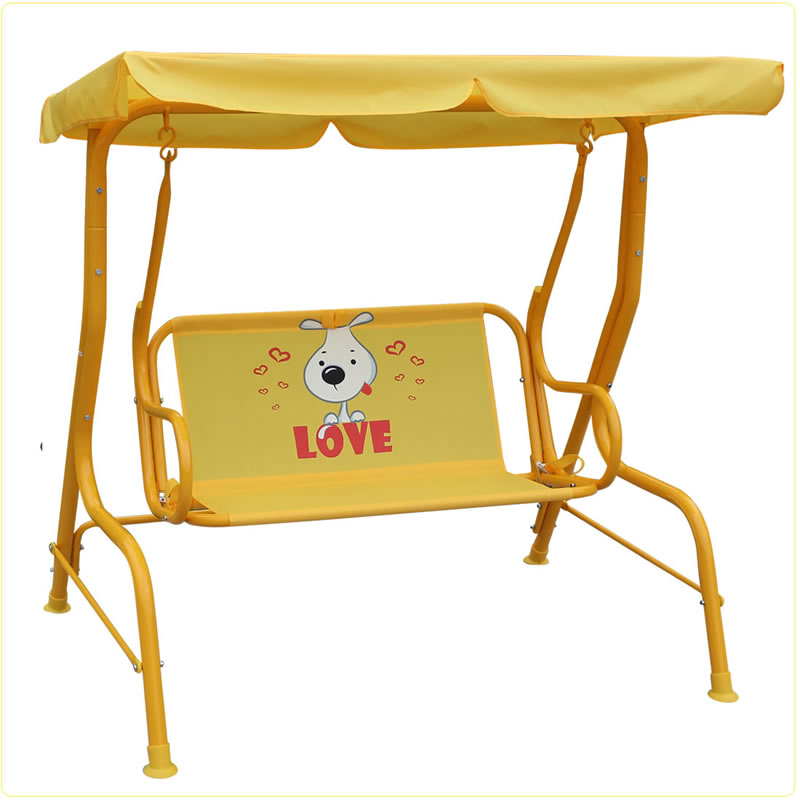 Two Seat Garden Swing Bench Double Kids Swing With Canopy