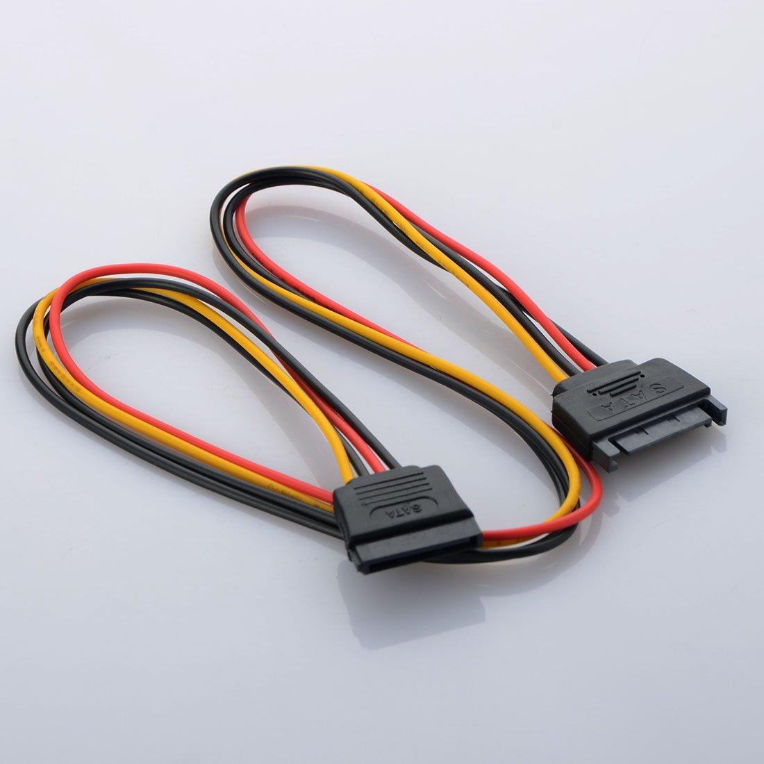 ASDOMO SATA Power Extension Cable,SATA power cord extension cable Serial cable power cord extension cord 15Pin male busbar