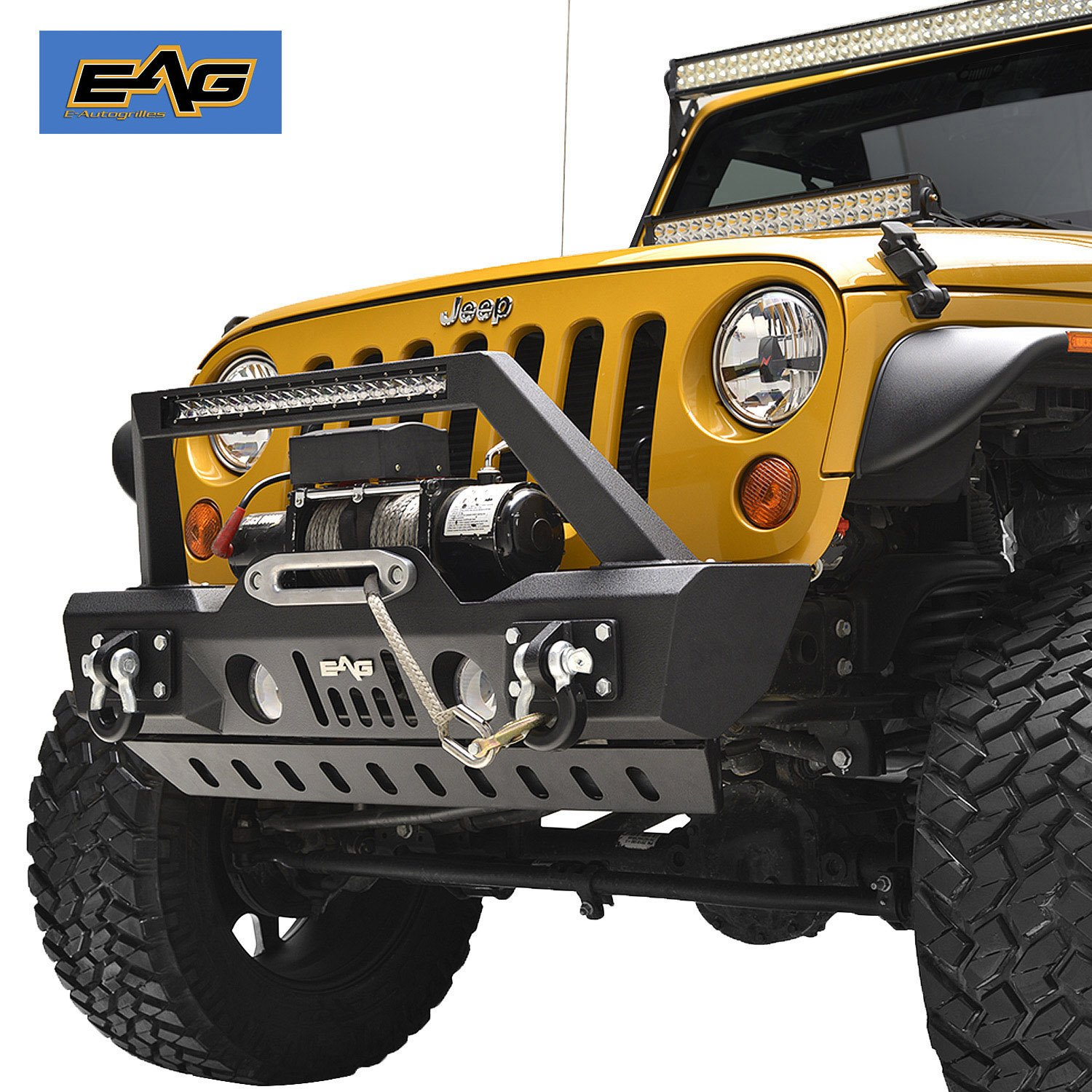 2f7ed55c3f Get Quotations · EAG Stubby Front Bumper With LED Light and Skid Plate for  07-18 Jeep Wrangler