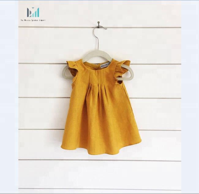 Mustard yellow linen baby dress yellow toddler flutter sleeve linen Baby dress
