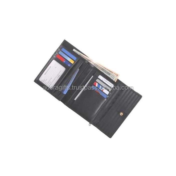 RFID Blocking Trifold push button closure long travel ticket holder and currency compartment leather passport cover