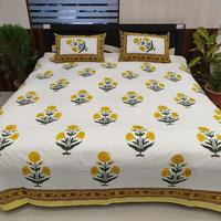 Indian latest hand block design cotton bed sheet queen bedding set