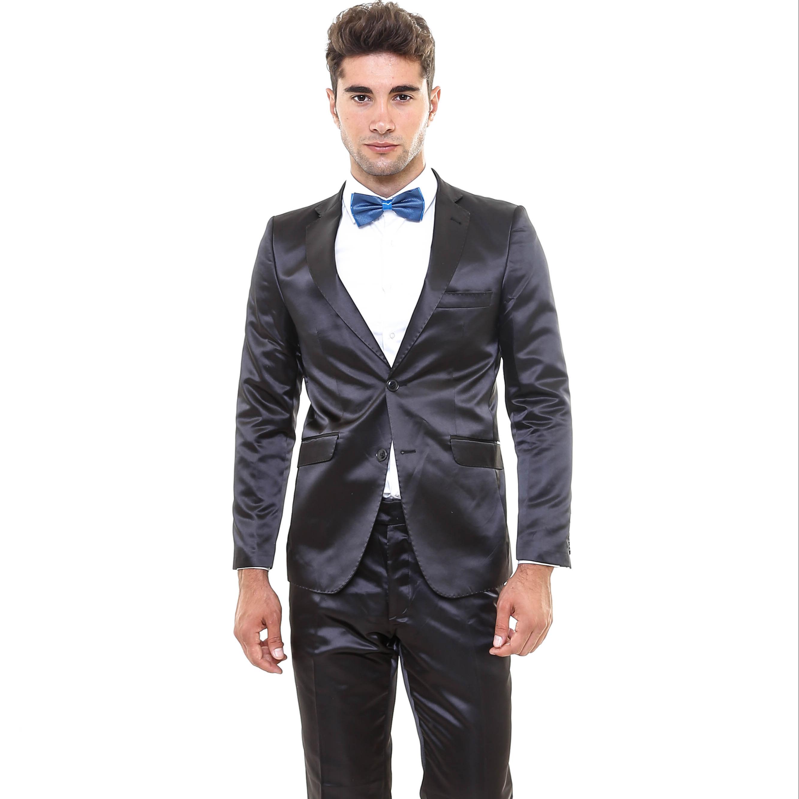 Zwart glanzend kostuum