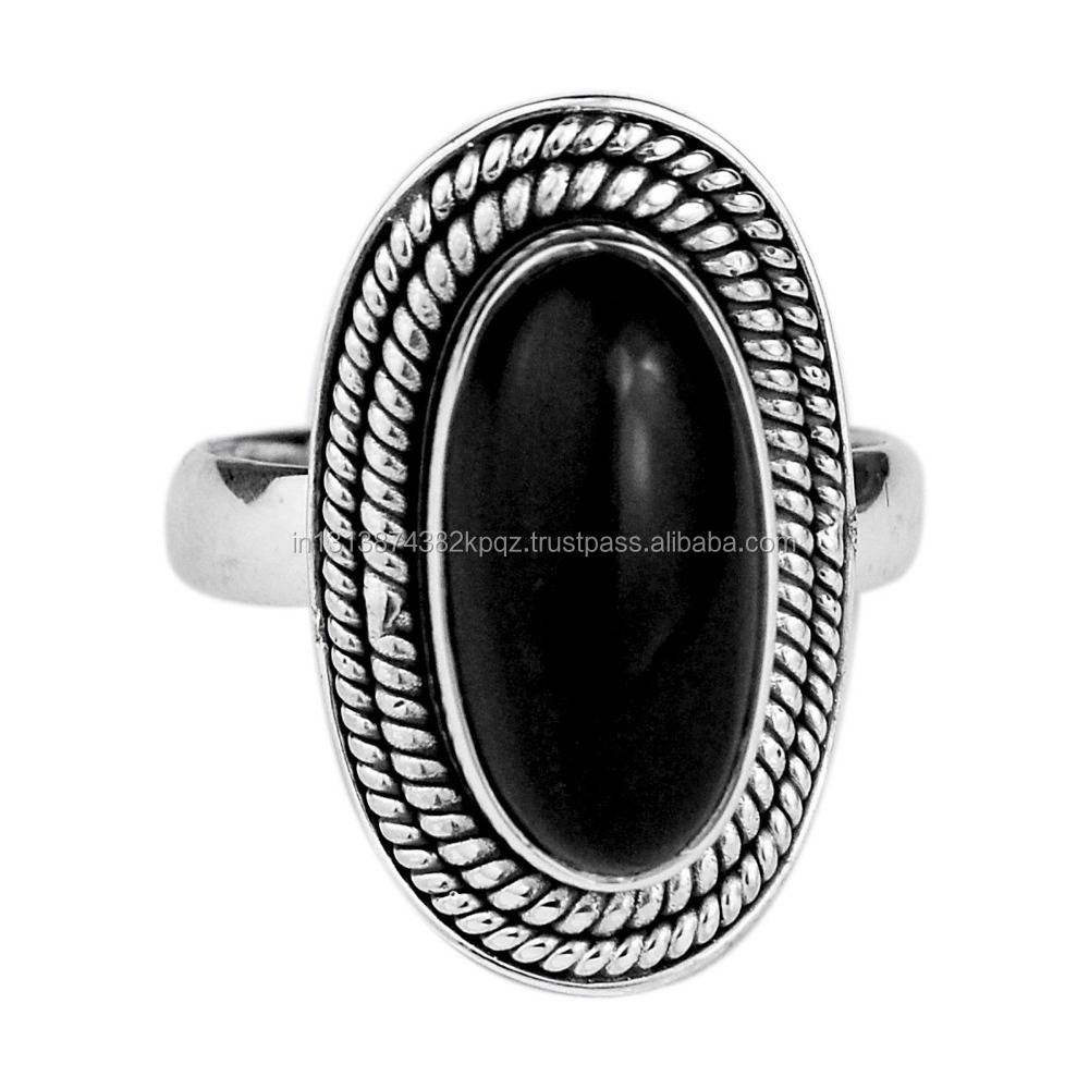 925 Sterling Silver black Onyx Ring Size 7 US